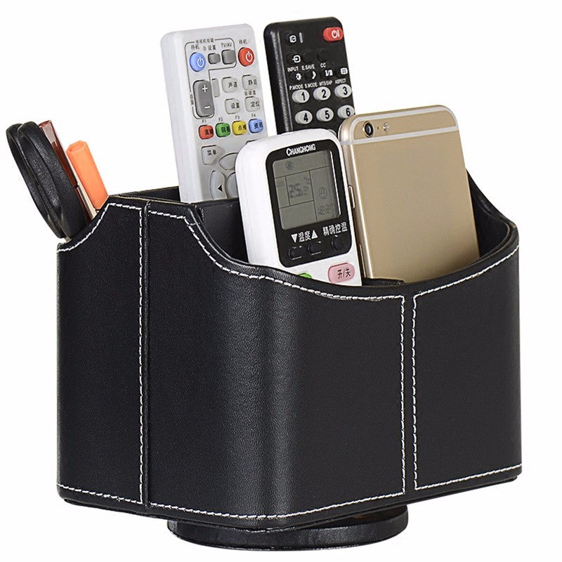 Remote Control Stationery Pens Organizer Spinning Storage Leather Holder Box