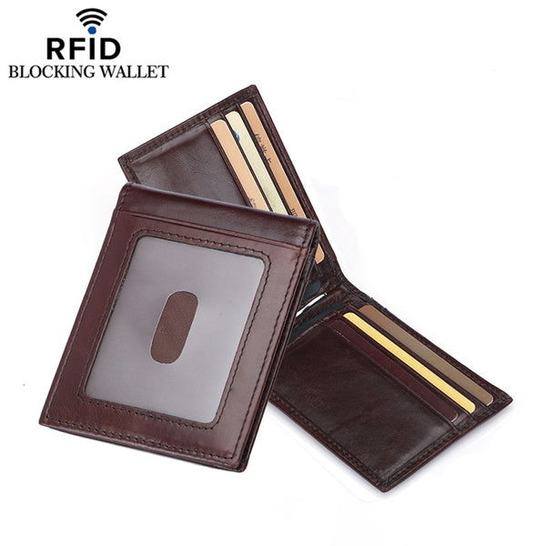 RFID Genuine Leather Business Card Holder Wallet