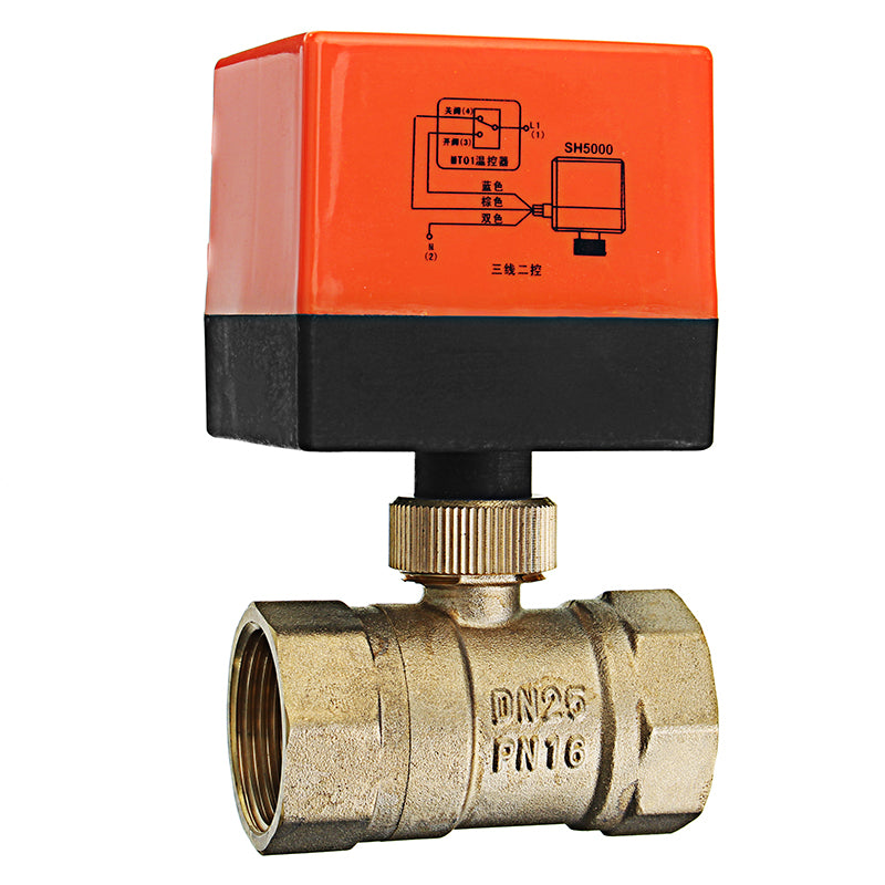"TMOK TK260 1/2 3/4"" 1"" 1-1/4"" Motorized Electric Brass Ball Valves 3 Wire AC 220V Full Port Valve"""