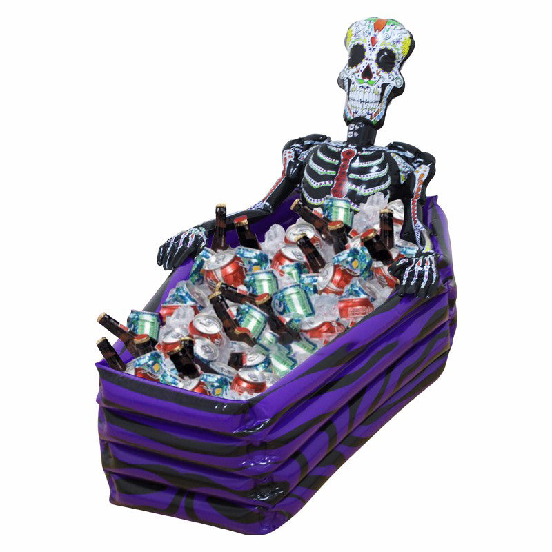 KCASA Skull Inflatable Cooler Skeleton Drink Ice Bucket Halloween Party Supply Christmas Decoration