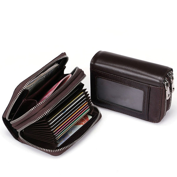 Genuine Leather Double Layers 11 Card Slots Card Holder Change Bag Wallet For Men
