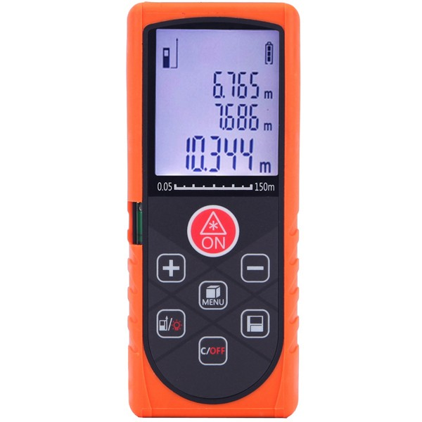 150M Digital Laser Distance Meter Rangefinder with Backlight Level Bubble
