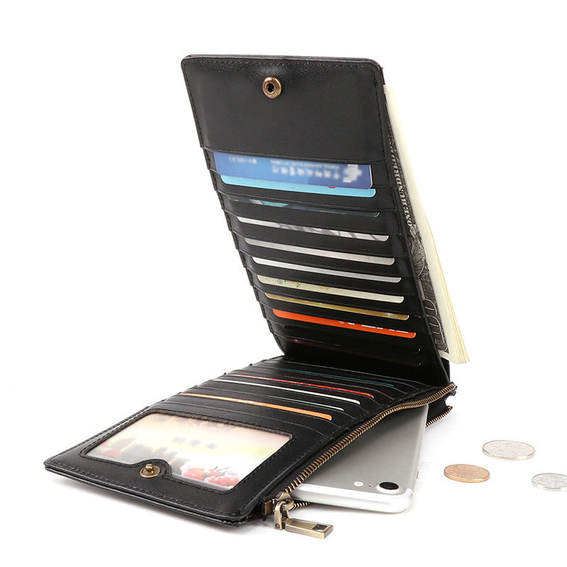 RFID Antimagnetic Genuine Leather Multi-slot 6 Inches Phone Bag Long Wallet For Men