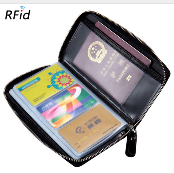 RFID Genuine Leather 60 Card Slots Purse Multi-slots Card Holder Long Wallet