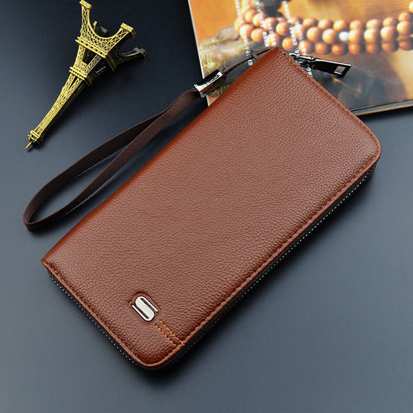 Men Business Multifunctional Wallet Long Zipper 5.5 Inches Phone Bag Card Holder
