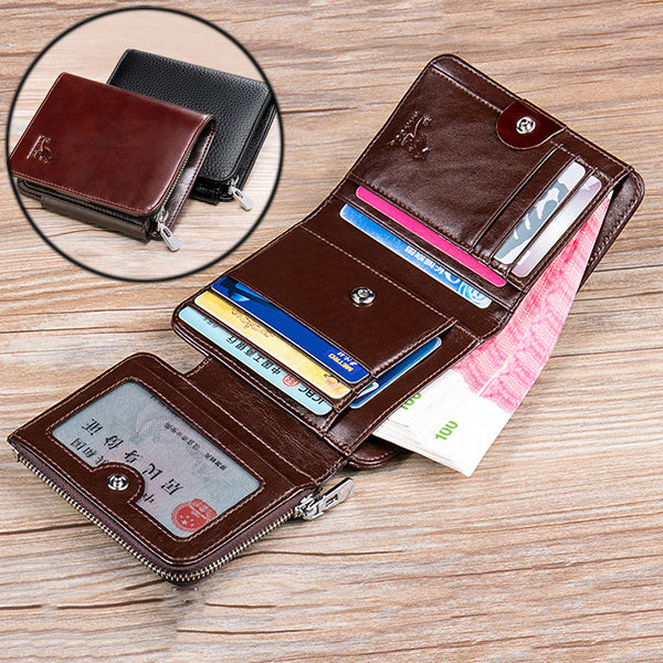 Genuine Leather Business Driver License 12 Card Slots Trifold Wallet For Men