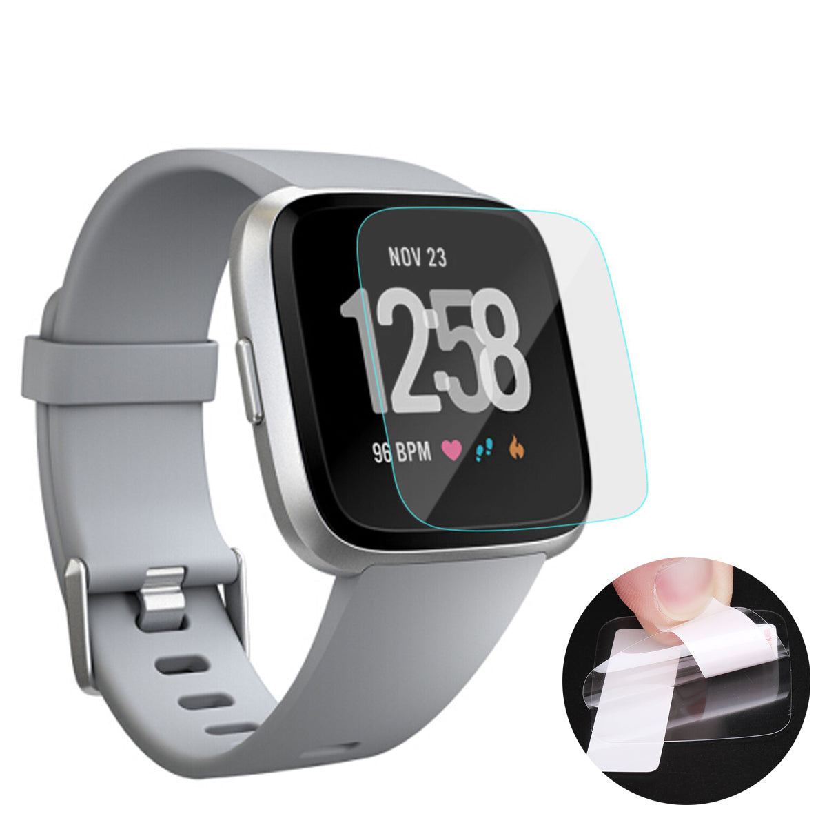 Fitbit Versa 3PCS Crystal Clear HD Anti-Scratch Smart Watch Screen Protector Film for Fitbit Versa
