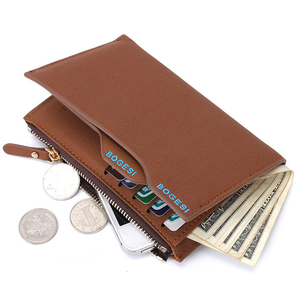 Men Pu Leather Zipper Credit Card Wallet Coolest Short Wallet with 11 Card Slots