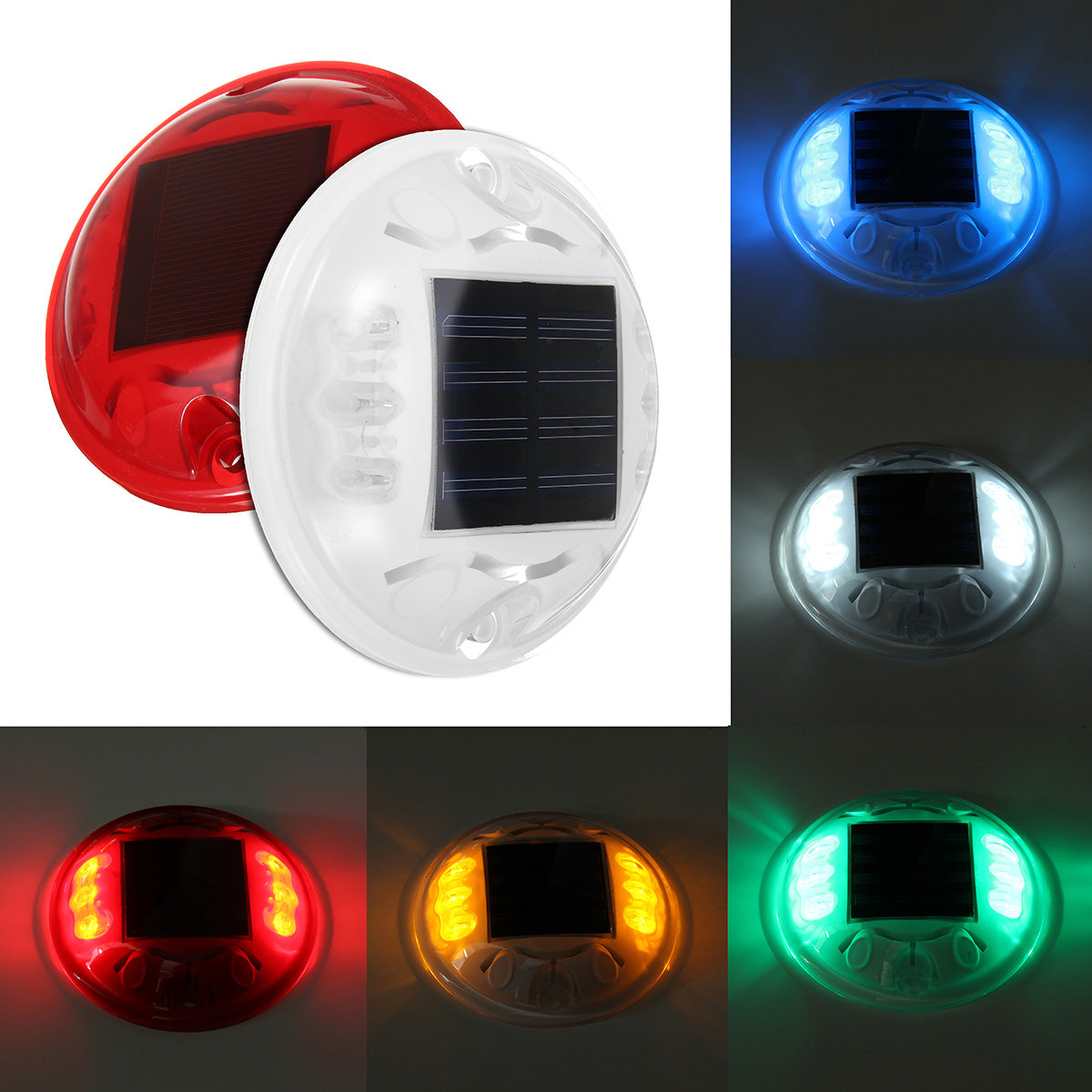 Outdoor Colorful 4 LED Solar Powered Light Road Path Ground Lamp