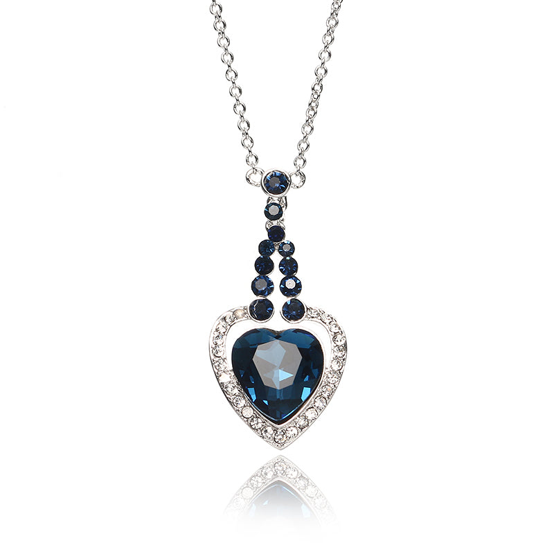 JASSY Heart of Ocean Sapphire Crystal Necklace Platinum Plated Rhinestone Best Gift