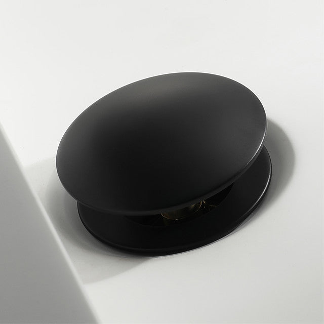 Pop Up Drain With Overflow Brass Bathroom Basin Sink Push Down Waste Matte Blacke Finish