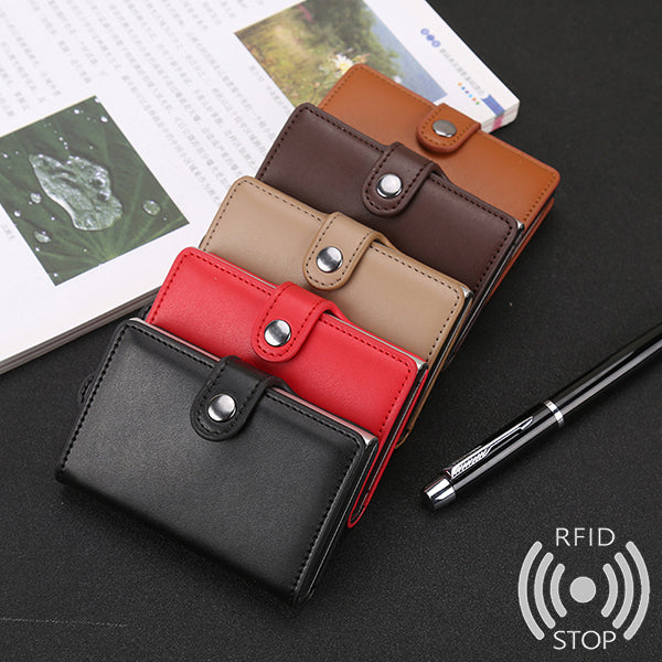 Men Women Multi-function Automatic Pop up Aluminum Wallet RFID Antimagnrtic Credit Card Holder