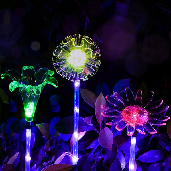 ARILUX Solar Multi-Color Changing LED  Flower Stake Light  Transparent Lampshade  Luminous Pole
