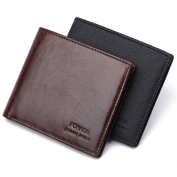 Men RFID NFC Blocking Short Genuine Leather Outdoor Antitheft 8 Card Slots Wallet