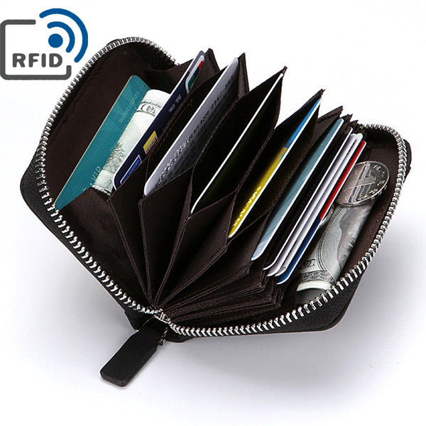 Men RFID Blocking Wallet Coin Bag Protective Wallet with 10 Card Slots