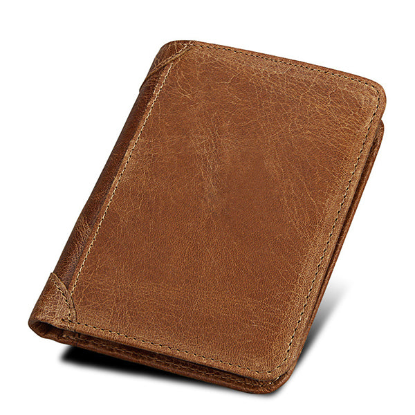 RFID Blocking Wallet Genuine Leather Large Capacity Secure Tri-fold Wallet for Men