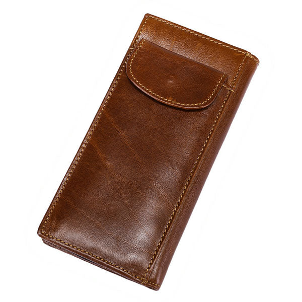 Men RFID Blocking Secure Wallet Brown Leather Long Purse Credit Card Holder Protector
