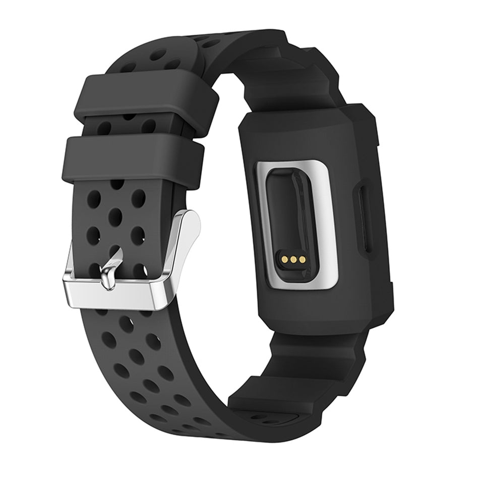 Fitbit Charge 3 Color Silicone Breathable Watch Band with Watch Protective Case for Fitbit Charge 3