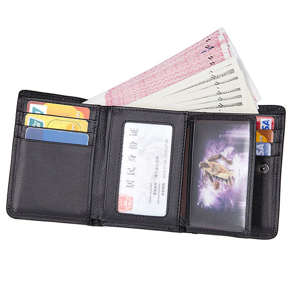 9 Card Slots Men Genuine Leather RFID Blocking Secure Wallet Minimalist Classic Card Holder