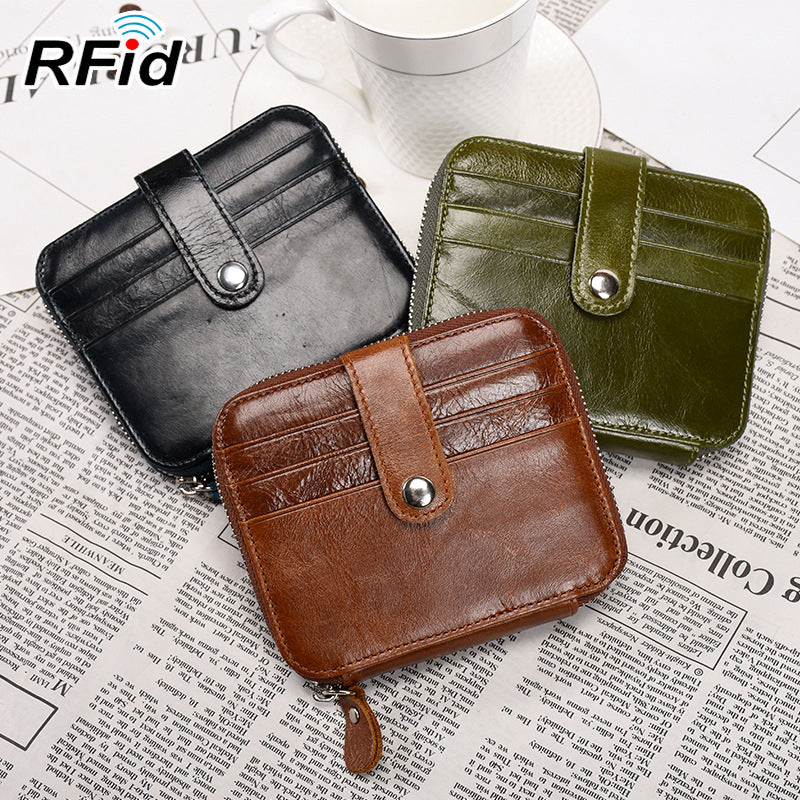 RFID Antimagnetic Genuine Oil-wax Leather Card Holder Coin Bag Wallet Money Clip