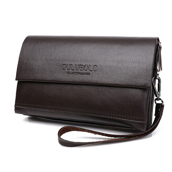 Men Business Genuine Leather Long Credit Card Wallet Clutch Bag