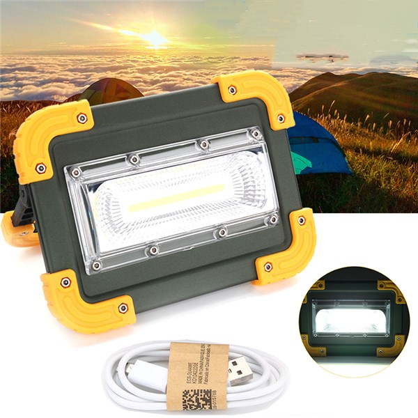 30W Portable USB Rechargeable COB LED Camping Light Outdoor Work Spot Light for Fishing Hiking
