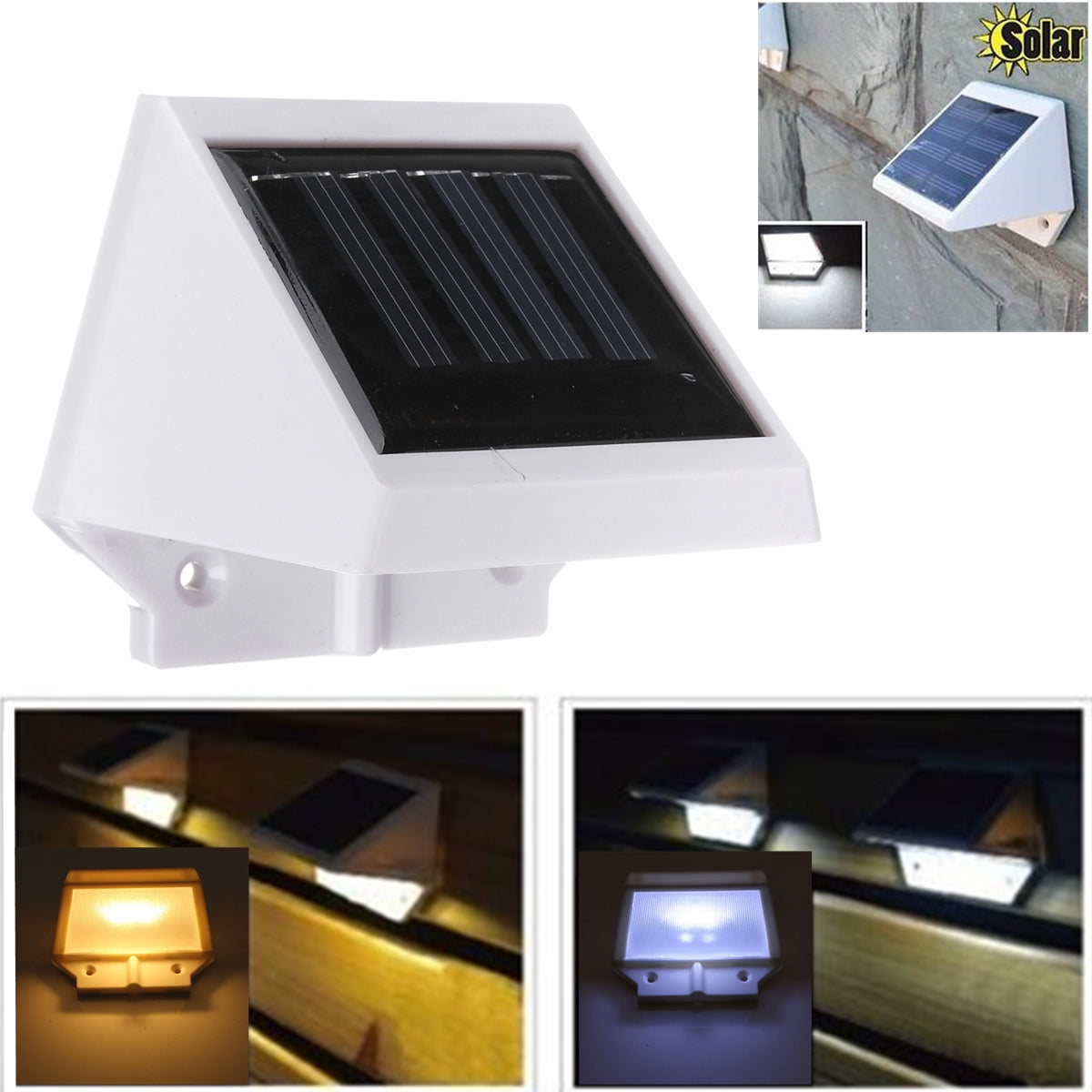 Outdoor Solar Power 2LED Bright Motion Sensor Wall Garden Lamp Stair
