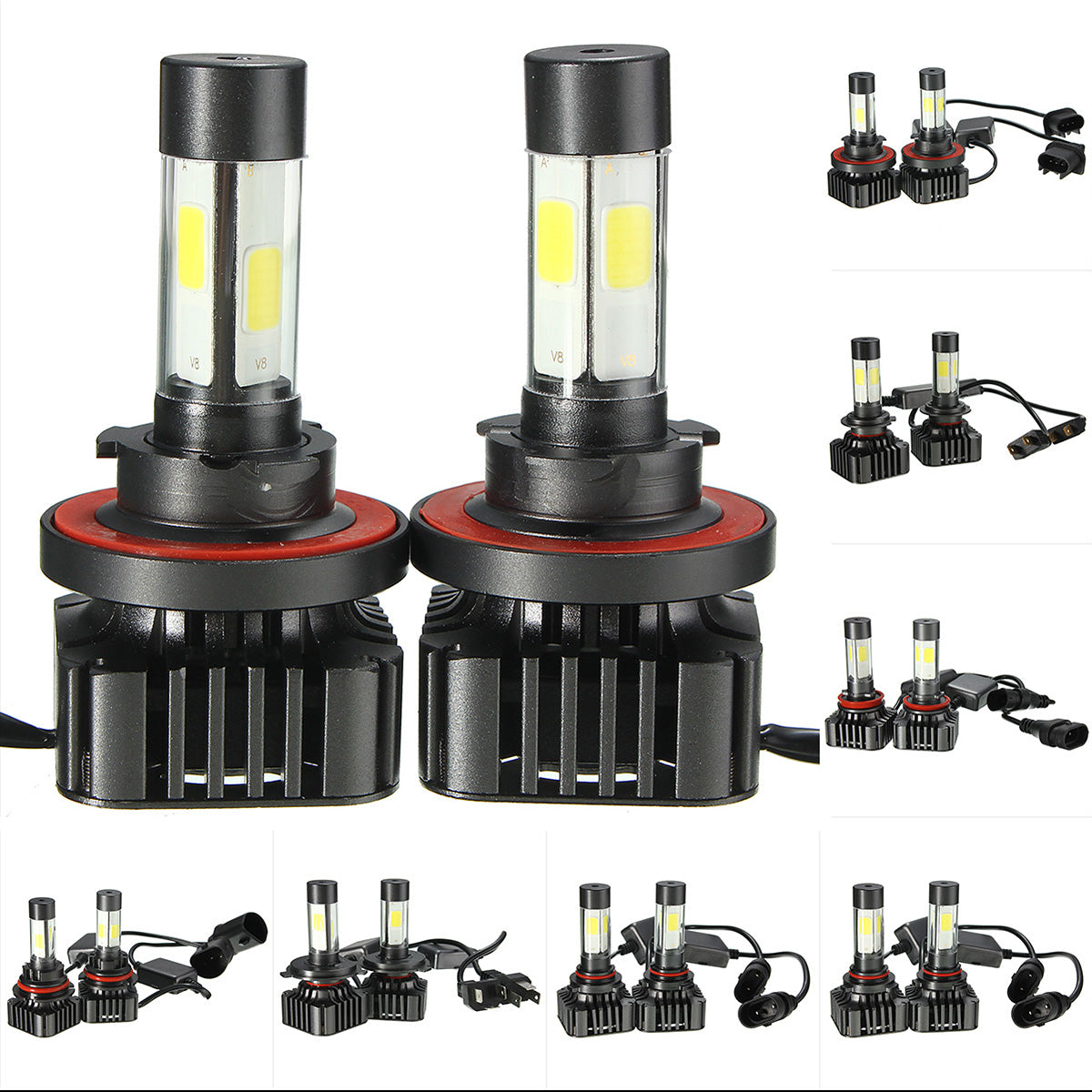 Pair V8 40W 4800LM 6000K White Car COB LED Headlights H4 H7 H8/H11 H13 9004 9005 9006