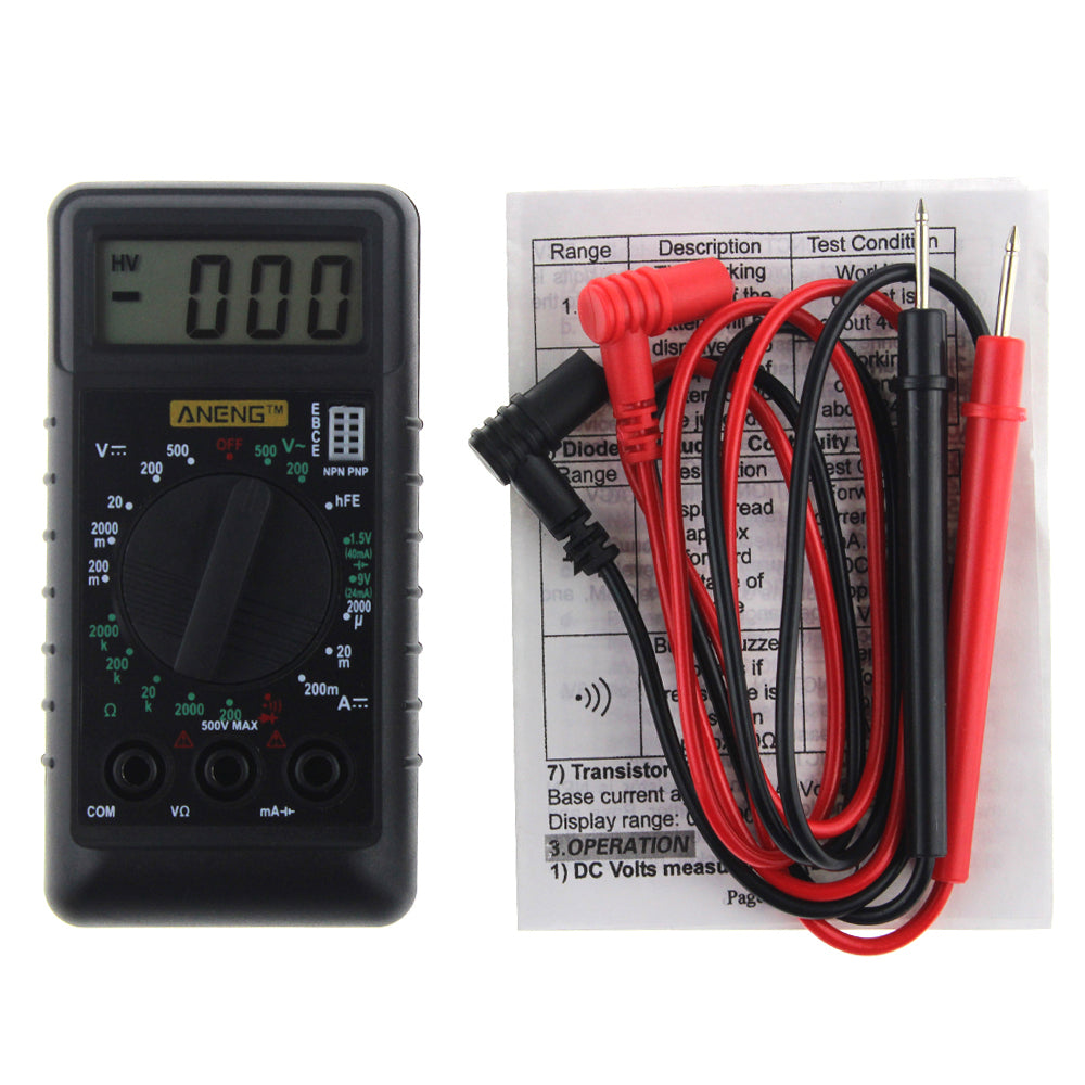 ANENG Mini Digital Multimeter with Buzzer Overload protection Pocket Voltage Ampere Ohm Meter DC AC LCD Portable
