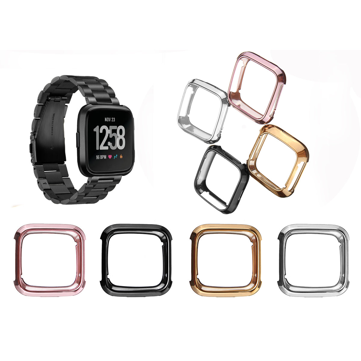 Fitbit Versa Shell Case Screen Protector Frame Cover Smart Watch Cover For Fitbit Versa Silicone Protective