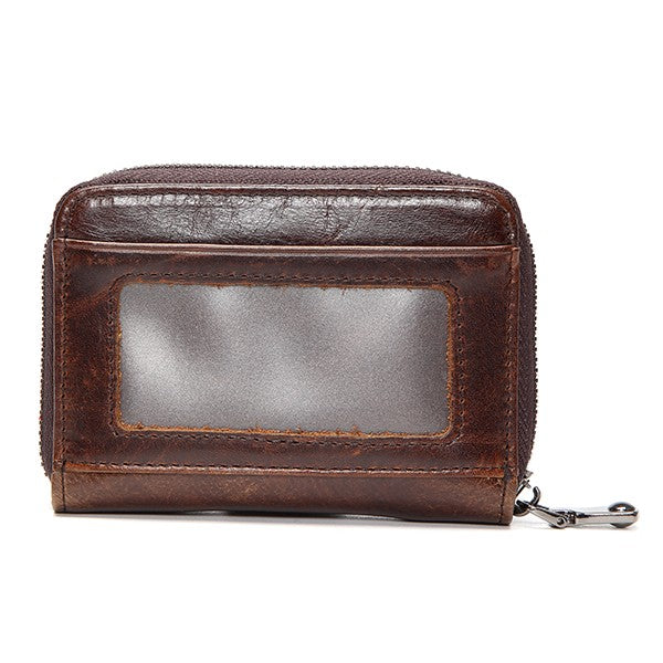 Casual Short Genuine Leather Wallet Cowhide Retro Card Holder