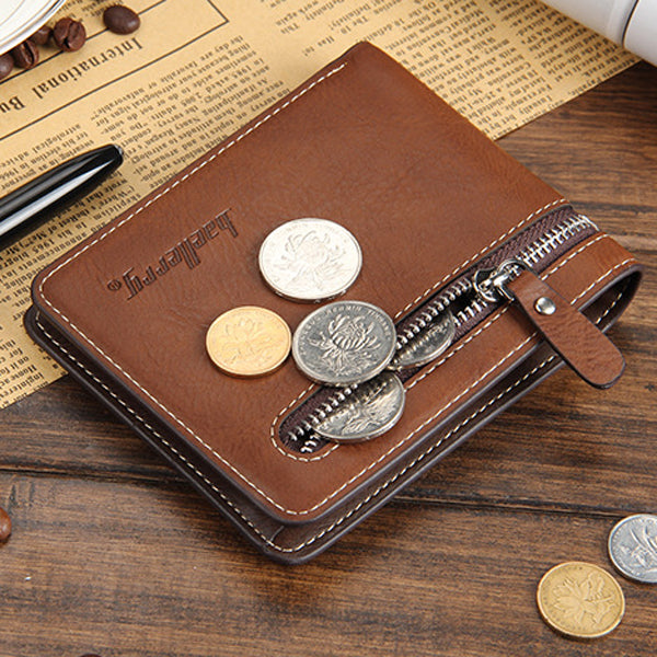 Men Pu Leather Vintage Three Folding Wallet