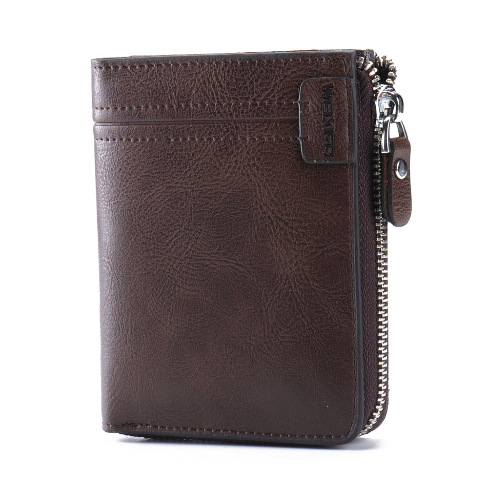 Men Vintage Fashion Genuine Leather Multi-Slots Business Trifold Zipper Wallet
