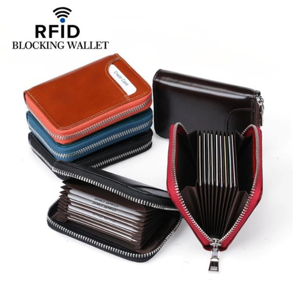 RFID Men And Women Genuine Leather 12 Card Slot Wallet Short Coin Purse