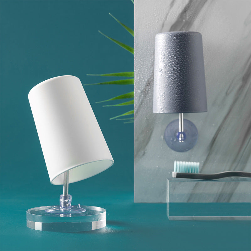 Bathroom Lamp Shape Draining Design Washing Cup Tooth Mug Toothbrush Holder with Suction Holder