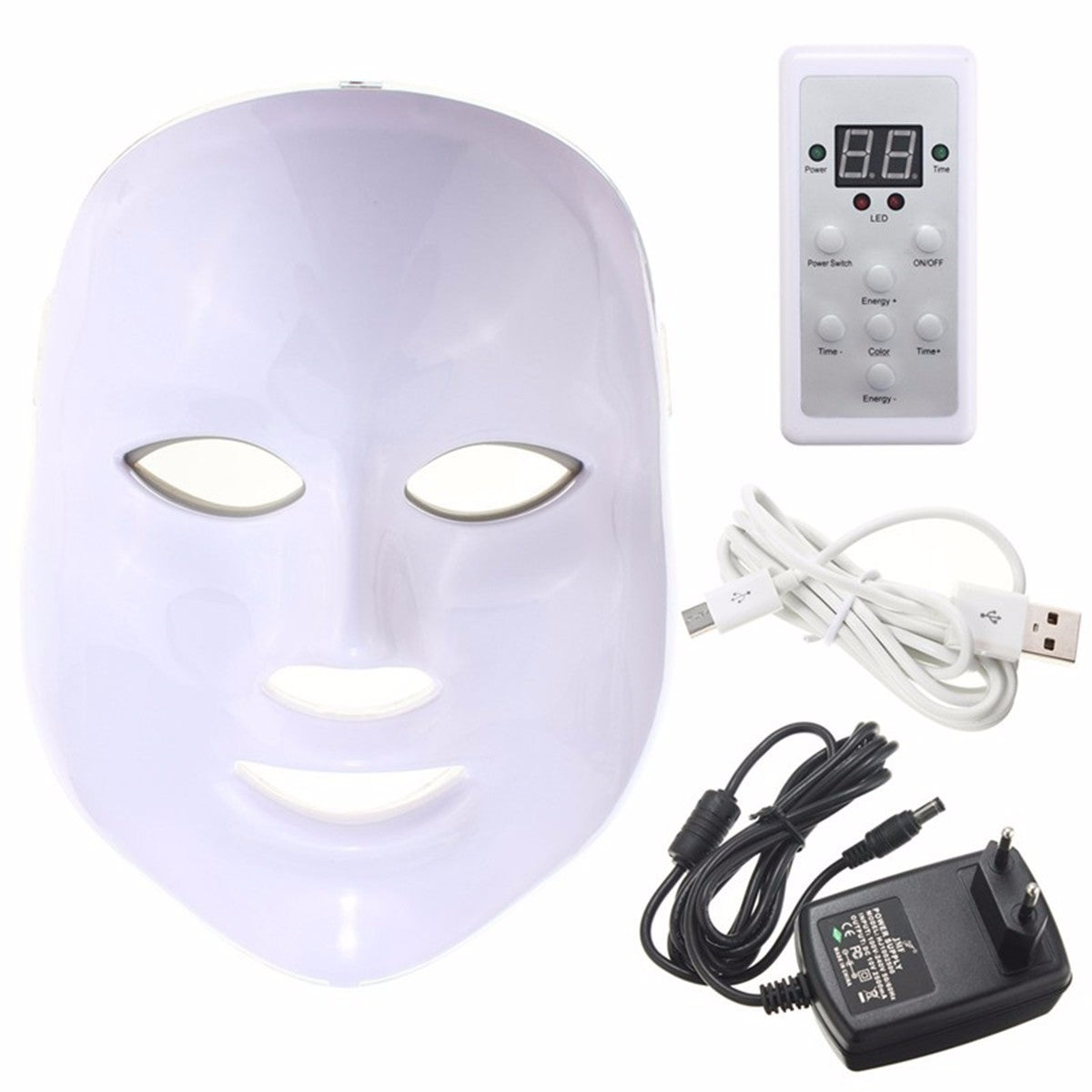 Photon LED Skin Rejuvenation Therapy Face Facial Mask 3 Colors Light Wrinkle Removal Anti Aging