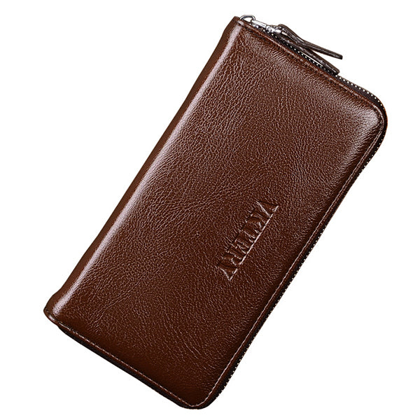 Men Business PU Leather 12 Card Slots Wallet Phone Clutch Bag