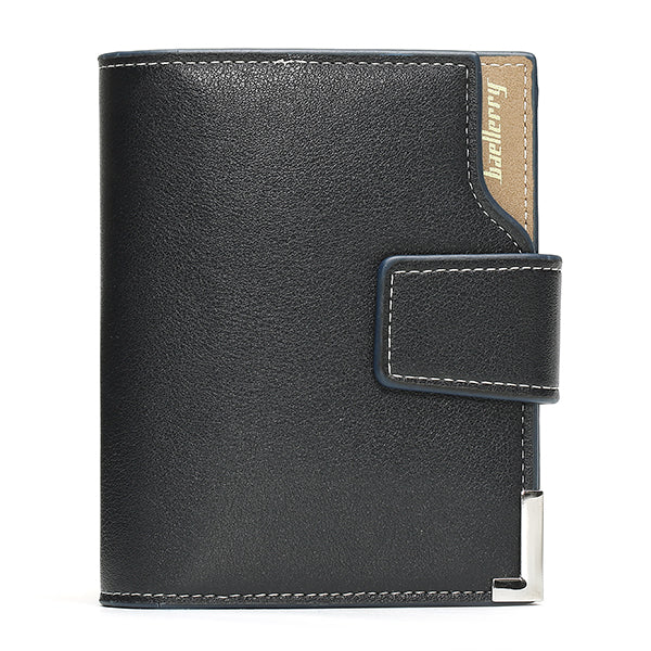 BAELLERRY Men PU Multifunction Hasp Zipper Wallet Business Short Folding Purse