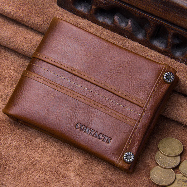 Men Retro Genuine Leather 10 Card Slots SD SIM Card Slot Coin Zipper Bag Wallet