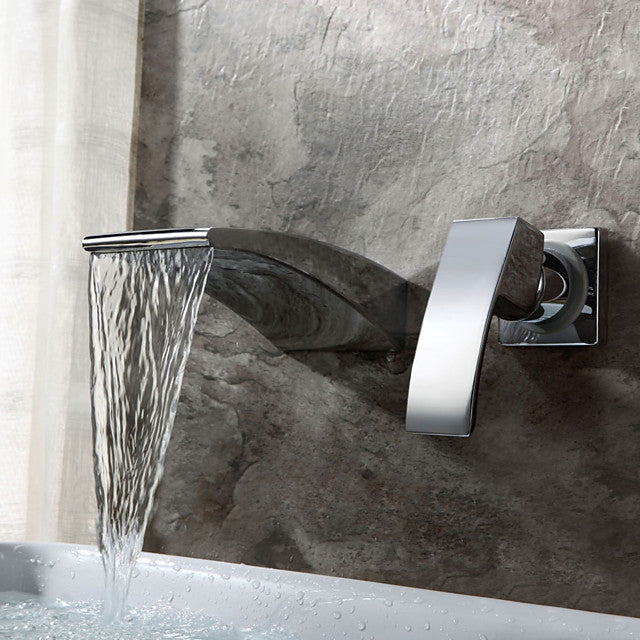 Bathroom Sink tap - Waterfall Chrome Wall Mounted Two Holes / Single Handle Two Holes Bath Taps