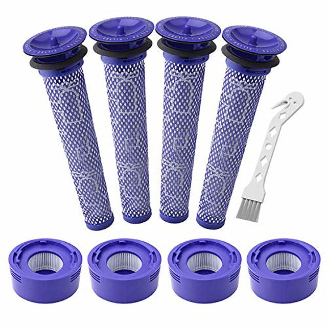 4 pack pre-filters and 4 pack hepa post-filter replacements compatible with dyson v7, v8