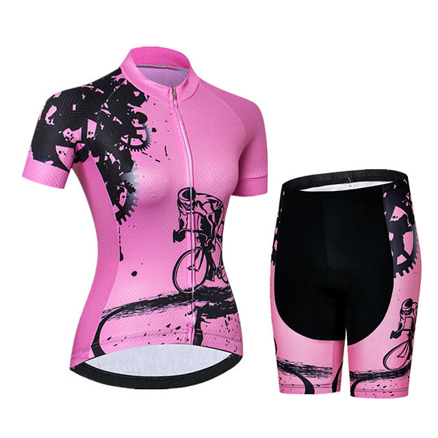 21Grams Women's Short Sleeve Cycling Jersey with Shorts Spandex Polyester