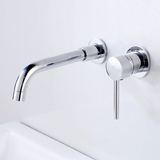 Bathroom Sink tap - FaucetSet / Wall Mount Antique Wall Mounted Single Handle Two Holes Bath Taps