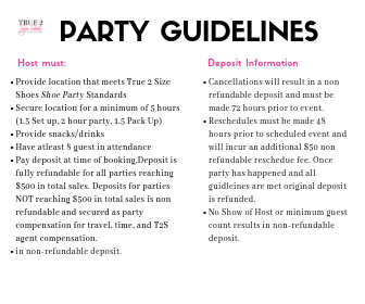 Shoe Party guidelines