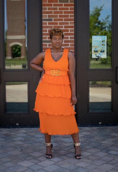 Orange Ruffle Dress