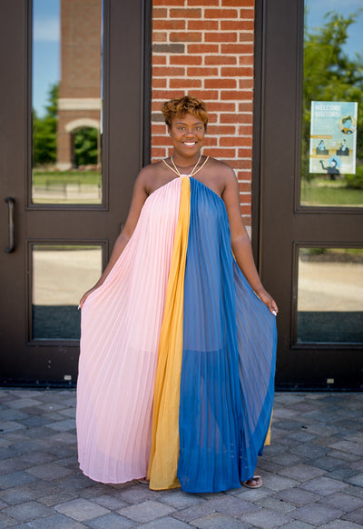 Pleated Multi Color Halter Maxi Dress
