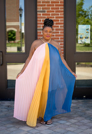 Pleated Multi Color Halter Maxi Dress (Curvy)