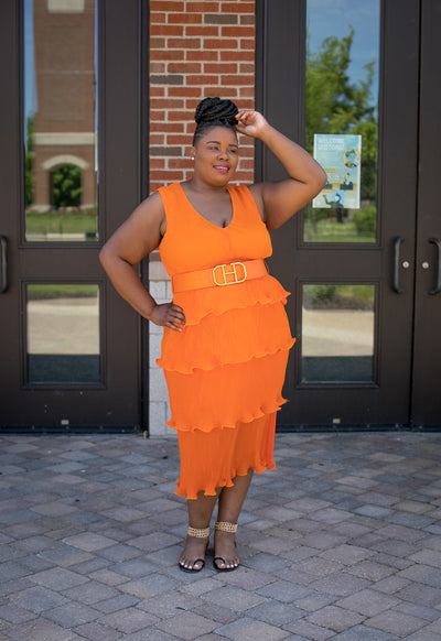 Orange Ruffle Dress Curvy