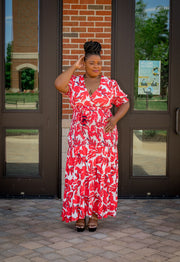 Red Floral Leaf Maxi Dress (Curvy