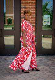 Red Floral Leaf Maxi Dress